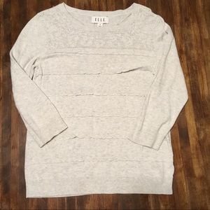 Grey Elle Brand Sweater with Scallop Ruffle front